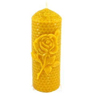 Sveča iz čebeljega voska satovje z vrtnico