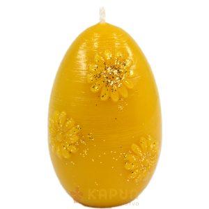 sveča iz čebeljega voska velikonočni jajček z rožicami