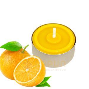 čajna svečka z vzorcem v alu posodici sladka pomaranča